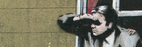 Detail of person looking out of window - Banksy street art on Park Street, Bristol