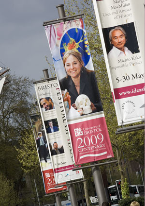 The banners situated in the city centre