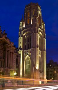 Wills Memorial Building at night