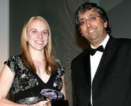 Rosie Hart receives the GlaxoSmithKline Award for the Best Pharmacology Student from Professor Chas Bountra, Vice President of GlaxoSmithKline