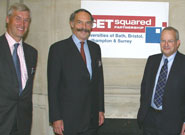 Left to right: Dr Neil Bradshaw, Chair of the SETsquared Partnership Management Team and Director of Enterprise at the University of Bristol; Francis Carpenter, Chief Executive of the European Investment Fund; Lord Sainsbury of Turville, Parliamentary Under-Secretary of State for Science and Innovation