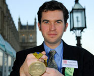 Dr Jeremy O'Brien with his Cavendish Medal