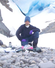 Dr Dave Cullen collecting samples from a glacier, to better understand how to detect life on Mars.