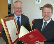 Vice-Chancellor Professor Eric Thomas (left) and Mr Rod Shaw, Chief Executive of the James Tudor Foundation