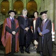 Image of from left to right: Dr Mark Allinson (Orator), Horst Josch (Honorary Graduand), Arlette Izac (Honorary Graduand), Professor William Howarth (Orator)