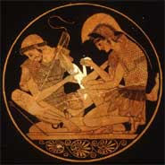 Detail from a drinking cup showing Achilles tending the wounds of Patroclus