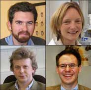 Clockwise from top left: Dr Jeremy O'Brien, Dr Jemma Wadham, Dr Johannes Leitgeb, Dr Robert Mayhew