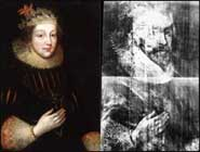 [left] Elizabeth Vernon, Countess of Southampton by an Unknown artist, circa 1620. [right] X-Ray of Elizabeth Vernon, Countess of Southampton by an Unknown artist, circa 1620
