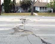 Street damage after the Northridge Earthquake of January 17, 1994