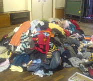 A pile of donated clothes from last year's 'Big Give'