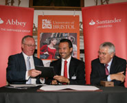 From left to right: Professor Eric Thomas, University of Bristol Vice-Chancellor; António Horta-Osório, Abbey's CEO; Lord Terry Burns, Abbey's Chairman.