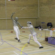 Competitors taking part in the 5 Nations fencing tournament