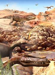 Dinosaurs in the Triassic.