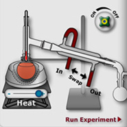 A screenshot from an interactive Flash simulation that helps students explore scientific and safety aspects of distillation experiments