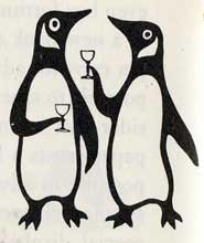 Penguin logos at play, taken from 'Penguins Progress 1935-1960', artist unknown