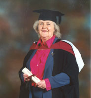 Actress Stephanie Cole receiving her honorary degree in 2002