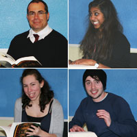 Clockwise from top left: George Ferzoco with students Sasha Sabapathy, Rebekah Harvey and Will Harvey in full flow at the marathon reading of Dante's 'Inferno'