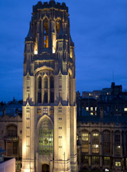 Image of the Wills Memorial Building at night.
