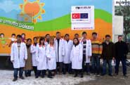 The first visitors to the Turkish mobile teaching unit on its opening day