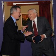 Sir David Attenborough with Dr Frank Taylor at the opening of the new Animal Welfare and Behaviour building.