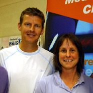 Steve Cram with Claire Callaghan, Manager of the University's Sports Medicine Clinic