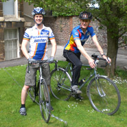 Greg Spencer (left) and Dominic O'Dwyer (right) on their bikes