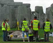 The team working at Stonehenge in September 2008