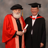 From left to right: Professor Geoffrey Hill and Professor Robert Fowler