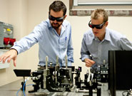 O'Brien (left) and Matthews working on the experiment.