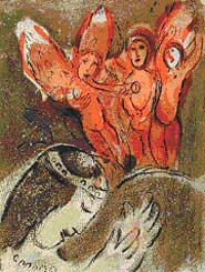 Marc Chagall: Sarah and the Angels (1960) Lithograph from the Bible Series