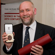 Tim Harrison with his award at The Royal Society in London