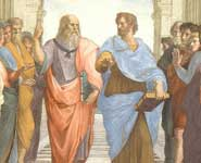 Plato (left) and Aristotle, depicted in detail from 'The School of Athens' (c.1511), a fresco by Raffaello Sanzio