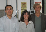 From left: Dr Jin Luo, now at Roehampton University, with Drs Trish Dolan and Mike Adam of the Spine Research Group