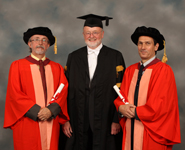 From left to right: Peter Lord, Professor David Clarke, David Sproxton