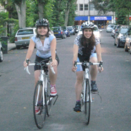 Lorna and Jess on their bikes