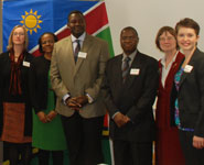 Lead delegates, cont (l-r): Professor Judith Squires, Dean of Social Sciences and Law; Mrs Morina Muuondjo, First Secretary Namibia; Mr Charles M Kabajani, Under-Secretary Namibia; HE Mr George M Liswaniso, High Commissioner Namibia; Valerie Davey, Executive Chair CEC; Terra Sprague