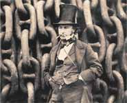 Isambard Kingdom Brunel against the launching chains of the Great Eastern at Millwall in 1857