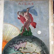 Atlas holding up the celestial spheres, from 1690s Danckerts atlas