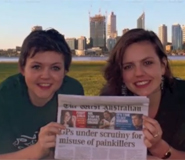 Emma Blott and Mary Spender with a copy of The West Australian paper