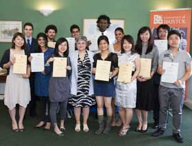 Pro Vice-Chancellor, Professor Avril Waterman-Pearson (centre, front), with students at the awards ceremony