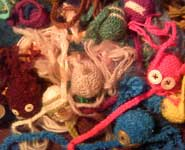 Some they made earlier: a pile of knitted neurons