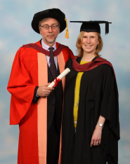 Professor Paul O'Prey receives his honorary degree from Helen Galbraith