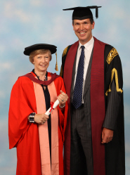 Alison Bernays receives her honorary degree from Denis Burn