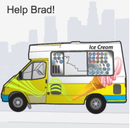 A snapshot of the online weather game. The public are being asked to help Brad, an ice cream man, run his business depending on the weather forecast