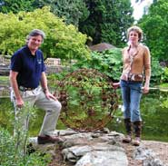 Curator of the Botanic Garden, Nick Wray (left), and artist Willa Ashworth with the sculpture
