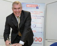The Duke of York signs the University's visitor book