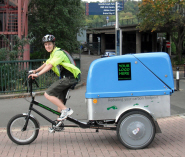 Sam Harris on one of Pedal Power Transport's delivery tricycles