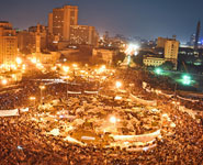 Protestors in Tahrir Square, Cairo on February 8 2011