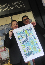 David Alder, Director of Communications and Marketing at Bristol University, and Sam Budd, Chief Executive of the Students' Union, with the new tea towel