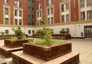 The courtyard at Unite House, student accommodation at the University of Bristol